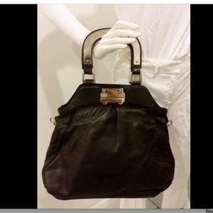 CELINE Brown Leather Satchel Purse